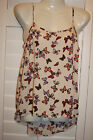 Primark Blouse GORGEOUS BUTTERFLY Vintage Cami Strappy Top Camisole Vest UK 6-20