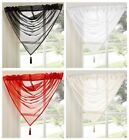 Tamara Tasseled Swag Voile Curtain Panel, Cream Black Red White