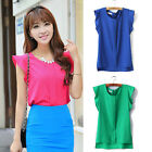 Candy Color Womens Loose Leisure Chiffon Tulip Flouncing Sleeve Blouse Tops