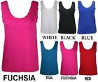 NEW WOMENS PLUS SIZE PLAIN SLEEVELESS SCALLOP NECK TSHIRT WOMENS VEST TOPS 12-26
