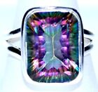 Emerald cut Mystic Topaz Rings 925 Sterling SILVER Ring All Sizes 5½, L to 12, Y
