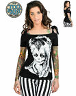 TOO FAST TATTOO GOTH ZOMBIE ROCK GOTHIC PUNK EMO ROCKABILLY ANNABEL PIN UP SHIRT