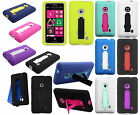For Nokia Lumia 521 Impact Hard Rubber Case Cover Kick Stand Accessory