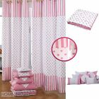 Pink Hearts Cotton Curtains & Filled Cushions Covers Large Small White Polka