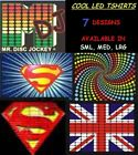 NEW MENS SOUND ACTIVATED LED EL GRAPHICS T SHIRT FUNKY COOL DESIGNS ~S, M & L~