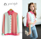 New Pink&Blue Color Assorted Chiffon Blouse Turndown Shirt Spring Fall