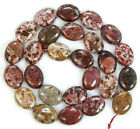 """12x15mm Natural Japanese Artistic Stone Flat Oval Beads 15.5"""""""