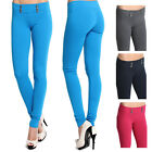 MOGAN Military Look Pull On SKINNY PANTS 6 Button Stretch Jeggings Leggings