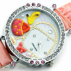 Shiny Leather Fashion Quartz Crystal Dial Girl Wrist Watch Butterfly Bird Key