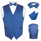 Men's ROYAL BLUE Dress Vest BOWTie Set for Suit or Tuxedo