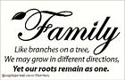 Family like Branches on Tree Wall Lettering Sticker Vinyl Decal Quote Saying