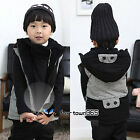 Baby Toddler Kids Boys Classic Black&Grey Scottish tartan Vest Coat Hoodie 2-7Y