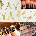 Nail Art Wraps Water Transfers Decals Metallic Gold Funky Zipper Zips Stickers