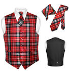 Men's Plaid Design Dress Vest NeckTie Black Red White Neck Tie Set for Suit Tux