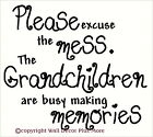 Grandchildren Making Memories Excuse Mess Wall Sticker Quote Letters Decal 23in