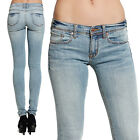 MOGAN Light Blue SUPER SKINNY JEANS Sleek Low Rise Stretch Washed Denim Pants