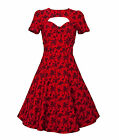 VOODOO VIXEN 50's FLORAL party prom DRESS RED