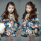 Winter Warm Kids Toddler Girls Princess Floral Bowknot Coat Jackets Outwear 2-7Y