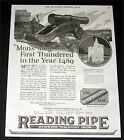 "1924 OLD MAGAZINE PRINT AD, READING PIPE WROGHT IRON, ""MONS MEG"" CANNON ART!"