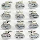 SHINY SILVER OVAL Mens Wedding Cufflinks Cuff Links BEST MAN GROOM USHER Gift