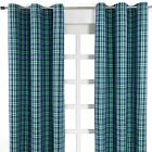 Green & Blue Blackwatch Tartan Check Heavyweight Cotton Eyelet Ring Top Curtains