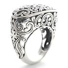 Oxidized Sterling Silver Bali Style Antique Filigree Women's Wedding Ring