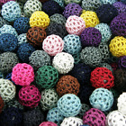 CROCHET WOOL WOVEN FABRIC BEADS, 16mm CHOOSE COLOUR pk of 10