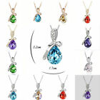 Fashion Bling Swarovski Crystal Teardrop Chain Necklace Pendant Necklace Jewelry