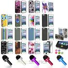 Colorful Patterned Hard Case+Dust Cap Pen+Mirror SP+Sticker For iPhone 5 5S