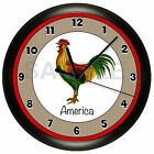ROOSTER WALL CLOCK COUNTRY KITCHEN PERSONALIZED ADD YOUR OWN TEXT CHICKEN DECOR