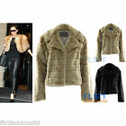 Womens Cropped Faux Fur Coat Victoria Beckham Style Button Warm Winter Jackets