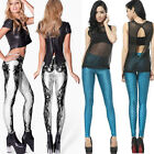 Hot New Maple Leaf Fish Printed Rock Punk Stretch Jean Casual Tights Leggings