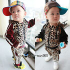 Spring Baby Kids Boy Child Leopard Hooded Coat+Trousers Pants Outfit Sets 0-3Y