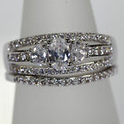 Silver 2 Ring Wedding & Engagement Set  Various Sizes Available