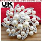 "New 2"" Silver Flower Bouquet Faux Pearl Diamante Crystals Brooch  Wedding Broach"