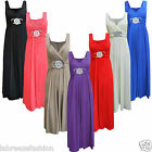 LADIES WOMENS BRIDESMAID SLEEVELESS COCKTAIL EVENING PROM BUCKLE MAXI DRESS