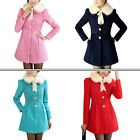 Ladies Doll Collar Button Closure Fashion NEW Worsted Coat