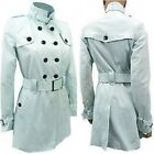 JANE NORMAN Trench Coat Military Style Double Breasted Baby Light Blue RRP £60