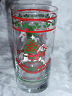 Christmas Holiday Glass Tumblers & Mugs Rockinghorse & Holly 6 pieces