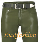 Leather trousers new green 501-st  leather pants men s leather jeans olive