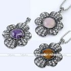 Round Gem Flower Gemstone Beads Dangle Pendant For Necklace Charm Jewellery Gift