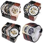 Mens Classical Hollow Skeleton Mechanical Automatic Wrist Watch,PU Band,Gift Box