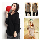Fancyqube New Loose Wool Blend V-neck Tunic Knitted Wear Pullover Jumper Sweater