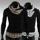 Stylish Mens Slim Fit knitting Sweater Grid Stripe Cardigan High Collar Pullover