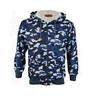 New Mens Camouflage Hooded Jacket Fleece lined Camo Top Army Blue S M L XL