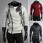 HOT S~XL Winter Casual Mature Men's Slim Fit Hooded Jacket Zip Coats Hoodie TOPS