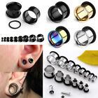 Pair Steel O-Ring Flared Ear Tunnel Plugs Expander Stretcher Earlets Gauges Punk