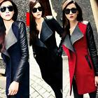New Fashion Women Wool PU Leather Zipper Long Collar Jacket Coat Outwear Parka
