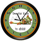 FUNNY FROG WALL CLOCK PERSONALIZED GREEN CHILDREN KIDS BATHROOM GIFT ART
