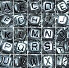 *100pcs cube silver 6mm acrylic alphabet/letter beads mixed and individual A- Z